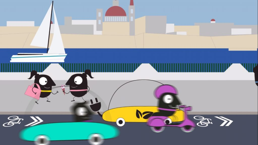 transport malta, bicycle awareness, 2d animation